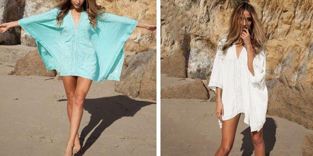 Пляжные платья: Туника с рукавами «летучая мышь»