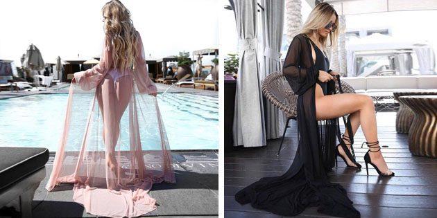 Пляжные платья: Макси платье-пеньюар