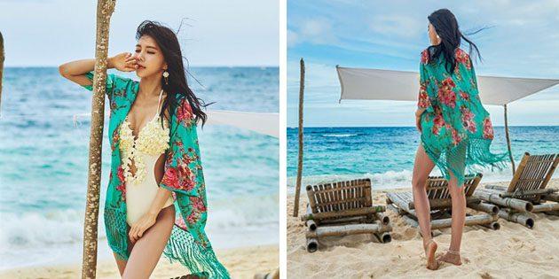 Пляжные платья: Накидка с цветочным принтом