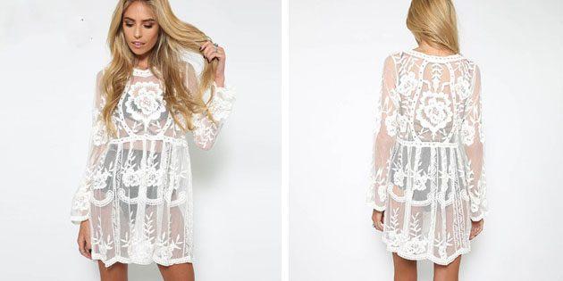Пляжные платья: Закрытое кружевное платье