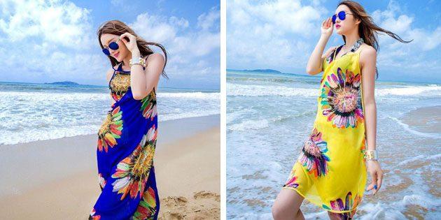 Пляжные платья: Платье с цветочным принтом