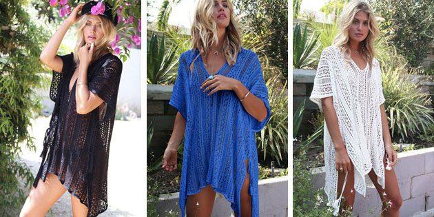Пляжные платья: Вязаное короткое платье