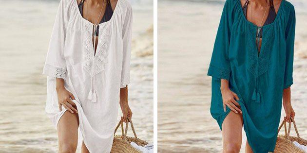 Пляжные платья: Платье с рукавами три четверти