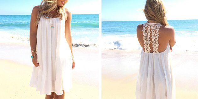 Пляжные платья: Платье с кружевной спиной