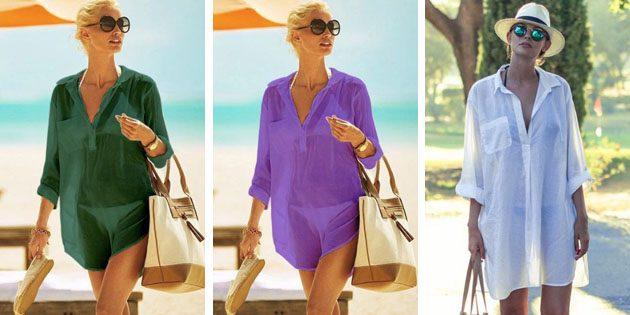 Пляжные платья: Платье-рубашка