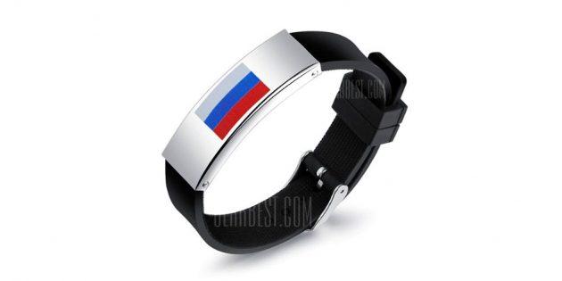 спортивная атрибутика: браслет с российским флагом