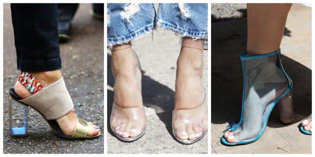 Модная женская обувь 2018 года: Обувь с прозрачными элементами
