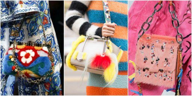 Модные сумки 2018 года: Сумка с мехом