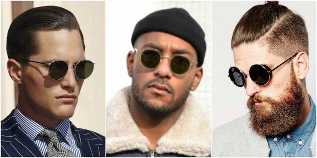 Модные мужские очки: Округлые очки в тонкой оправе