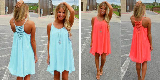 Пляжное платье с кружевной спиной