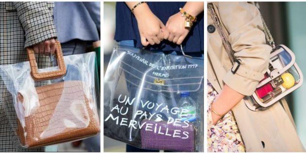 Модные сумки 2018 года: Прозрачная сумка-мешок