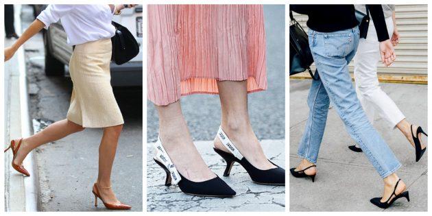 Модная женская обувь 2018 года: Туфли с ремешком на пятке