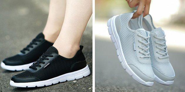 Мужские летние кроссовки: Сетчатые кроссовки с вставками