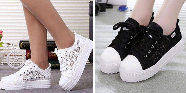 Женские летние кроссовки: Кружевные кроссовки
