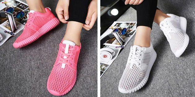 Женские летние кроссовки: Однотонные кроссовки с сетчатым верхом