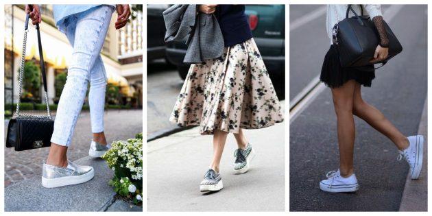 Модная женская обувь 2018 года: Сникерсы на платформе