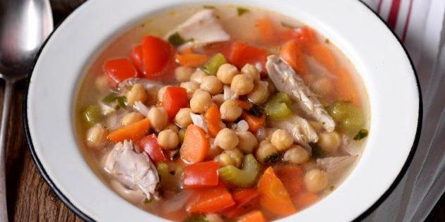 Рецепты с нутом: Куриный суп с нутом и овощами