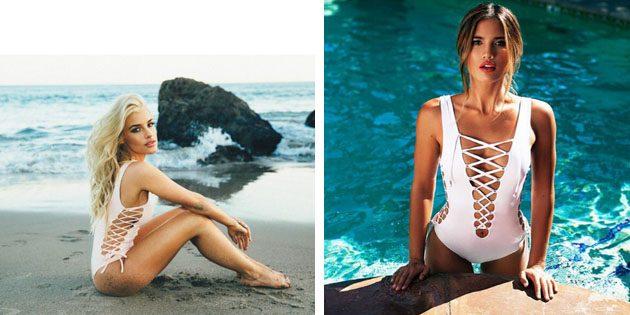 Красивые купальники: Монокини со шнуровкой