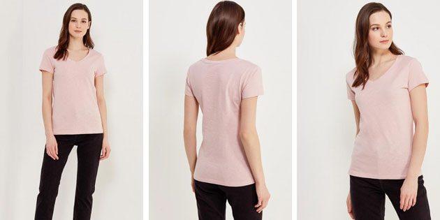 Базовые женские футболки из европейских магазинов: Футболка Sela цвета пыльной розы