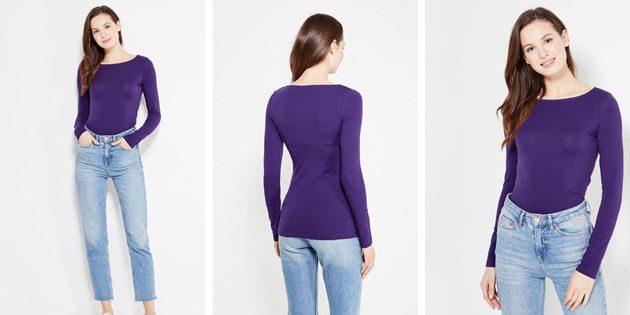 Базовые женские футболки из европейских магазинов: Базовая футболка oodji с длинным рукавом