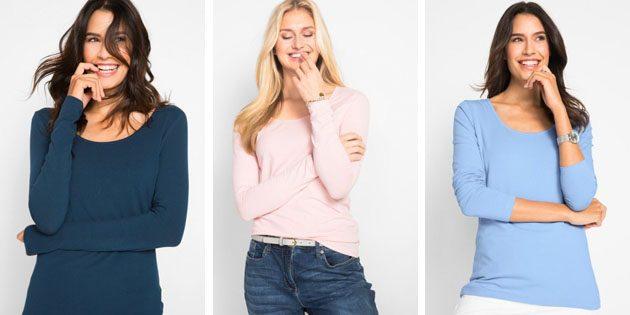Базовые женские футболки из европейских магазинов: Футболка с длинными рукавами BonPrix