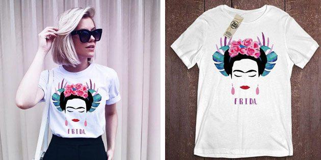 Модные женские футболки с AliExpress: Футболка с принтом Фрида Кало