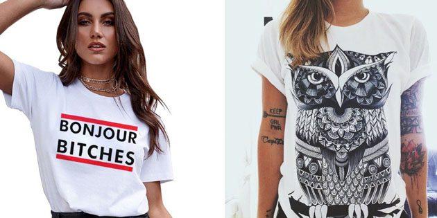 Модные женские футболки с AliExpress