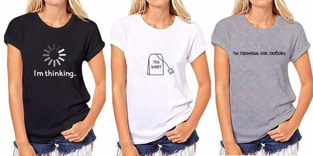 Модные женские футболки с AliExpress: Футболка с надписью
