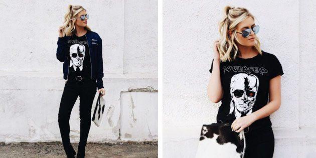 Модные женские футболки с AliExpress: Черная футболка с принтом