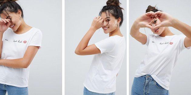 Модные женские футболки из европейских магазинов: Футболка Only First Kiss классического кроя
