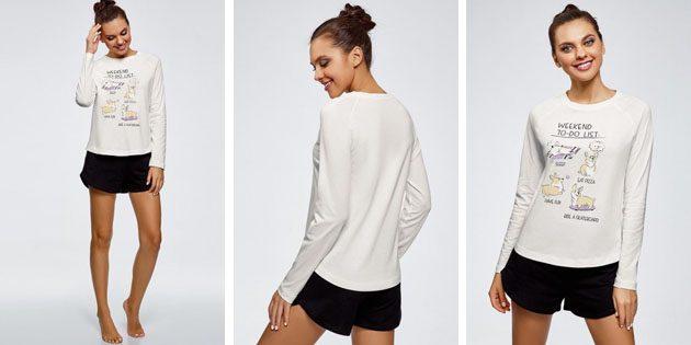 Модные женские футболки из европейских магазинов: Футболка oodji с длинными рукавами