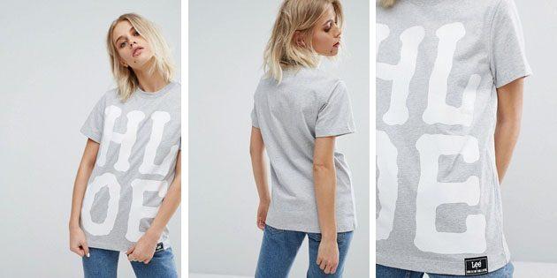 Модные женские футболки из европейских магазинов: Футболка House of Holland X Lee серого цвета