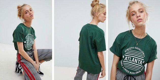 Модные женские футболки из европейских магазинов: Футболка Daisy Street зеленого цвета