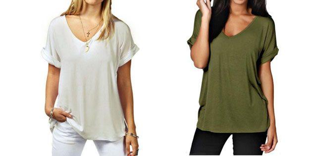 Базовые женские футболки из европейских магазинов: Свободная футболка с V-образной горловиной