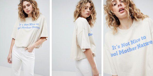 Модные женские футболки из европейских магазинов: Укороченная футболка Weekday с круглым вырезом