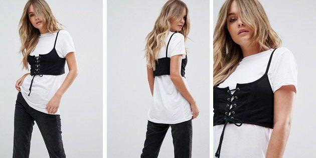 Модные женские футболки из европейских магазинов: Футболка с корсетом Brave Soul Maca