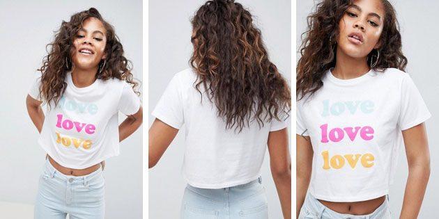 Модные женские футболки из европейских магазинов: Укороченная футболка ASOS