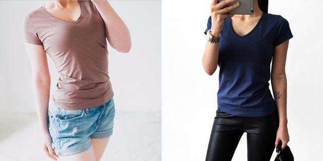 Базовые женские футболки из европейских магазинов: Базовая футболка с треугольным вырезом