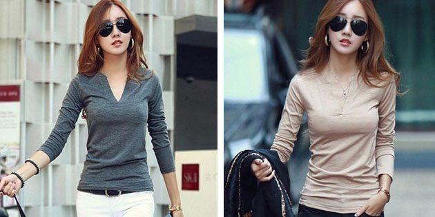 Базовые женские футболки из европейских магазинов: Базовая однотонная футболка с длинным рукавом