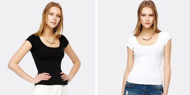 Базовые женские футболки из европейских магазинов: Однотонная футболка с U-образной горловиной