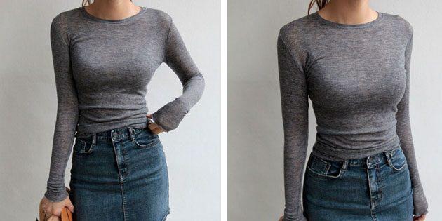 Базовые женские футболки из европейских магазинов: Футболка с длинным рукавом