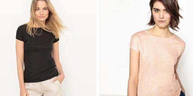 Базовые женские футболки из европейских магазинов: Базовая футболка с круглой горловиной
