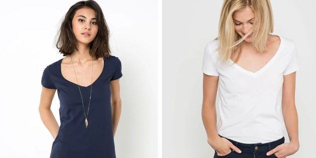 Базовые женские футболки из европейских магазинов: Футболка с короткими рукавами и V-образным вырезом