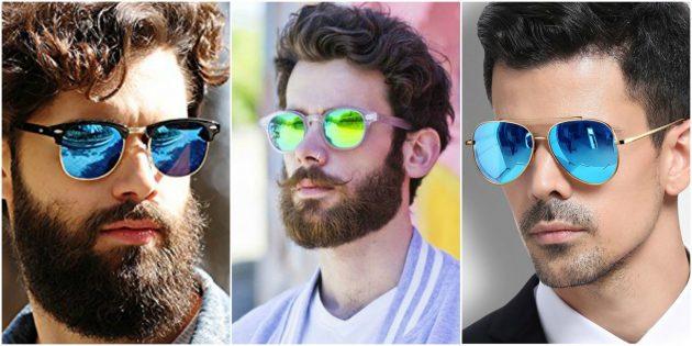 Модные мужские очки с цветными зеркальными линзами