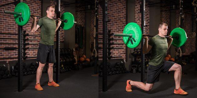 Программа тренировок: Выпады со штангой на спине
