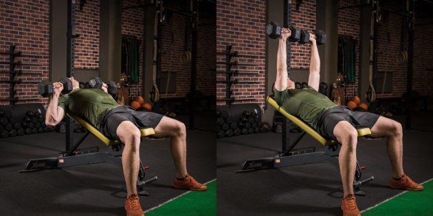 Программа тренировок: Жим гантелей на наклонной скамье