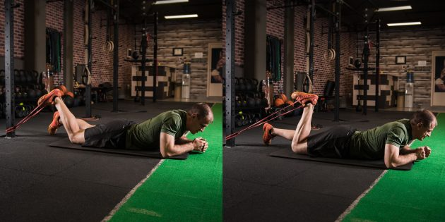 Как тренироваться, если болят колени: сгибание ног лёжа с эспандером