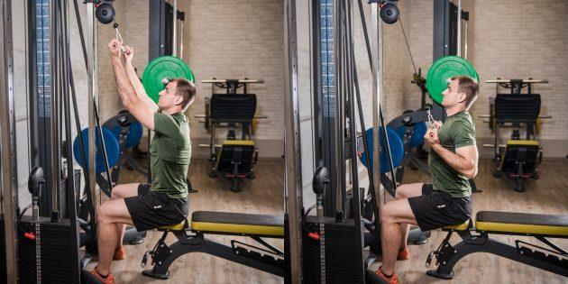 Круговая тренировка в тренажёрном зале: Тяга верхнего блока к груди