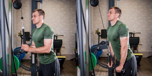 Как нарастить мышечную массу: разгибание на трицепс на блоке