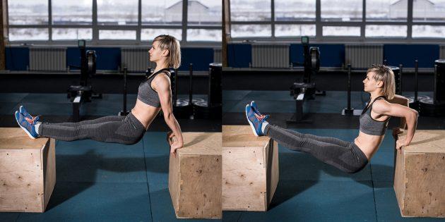 Как похудеть на 5 кг: Обратные отжимания с ногами на возвышении